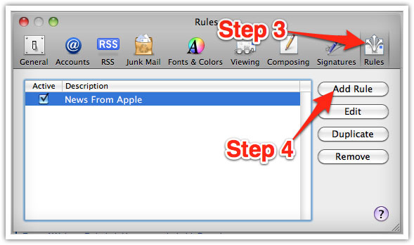adding new email rule in Mac Mail