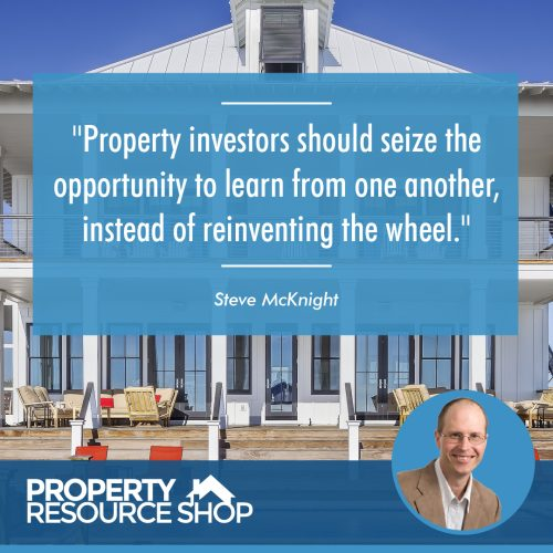 Image of a steve mcknight's quote about learning from other property investors over the image of a house