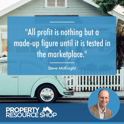 Image of a steve mcknight's quote about profit with an image of a house in the background
