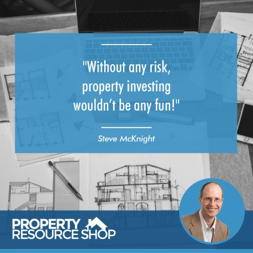 Image of a steve mcknight's quote about risk with house blueprints in the back