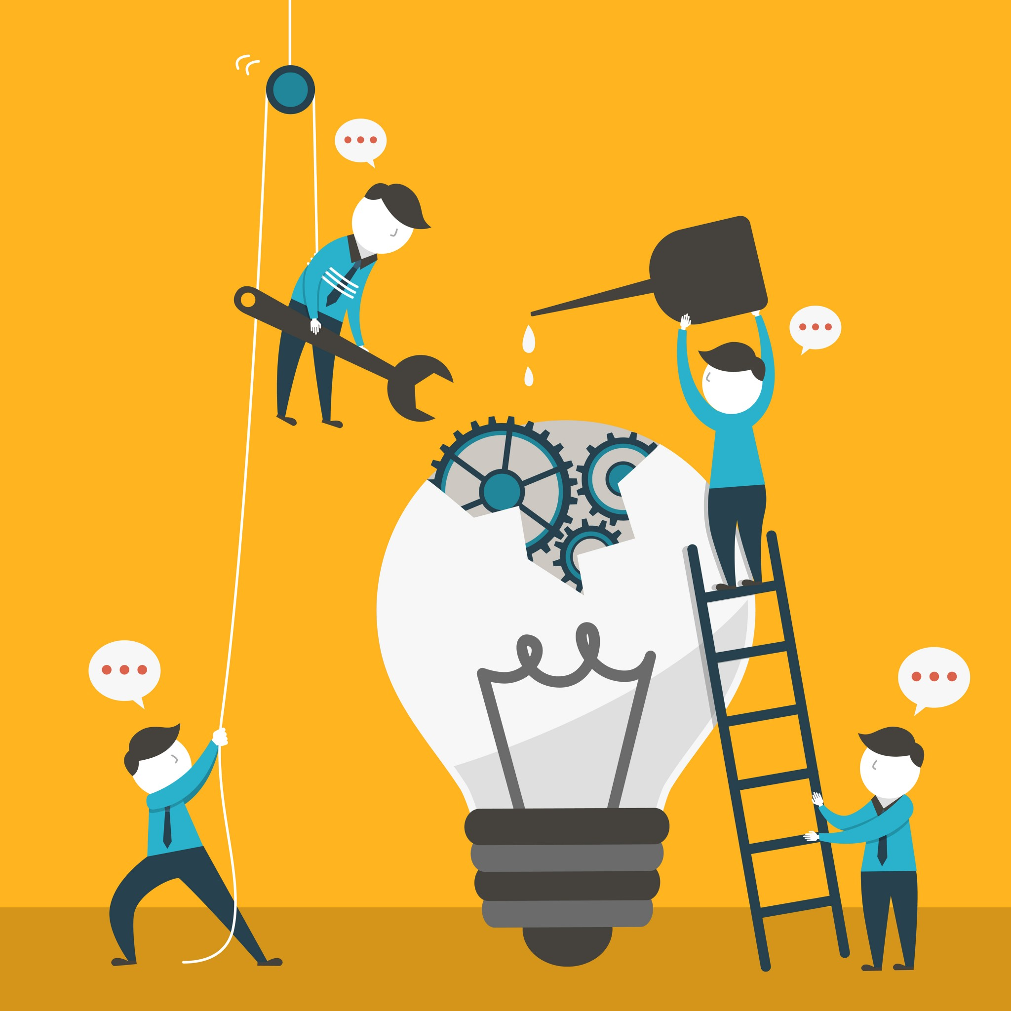 Illustration of 4 men working together to build a lamp - represents that Having an experienced team can be a great help on you joint venture's agreement success