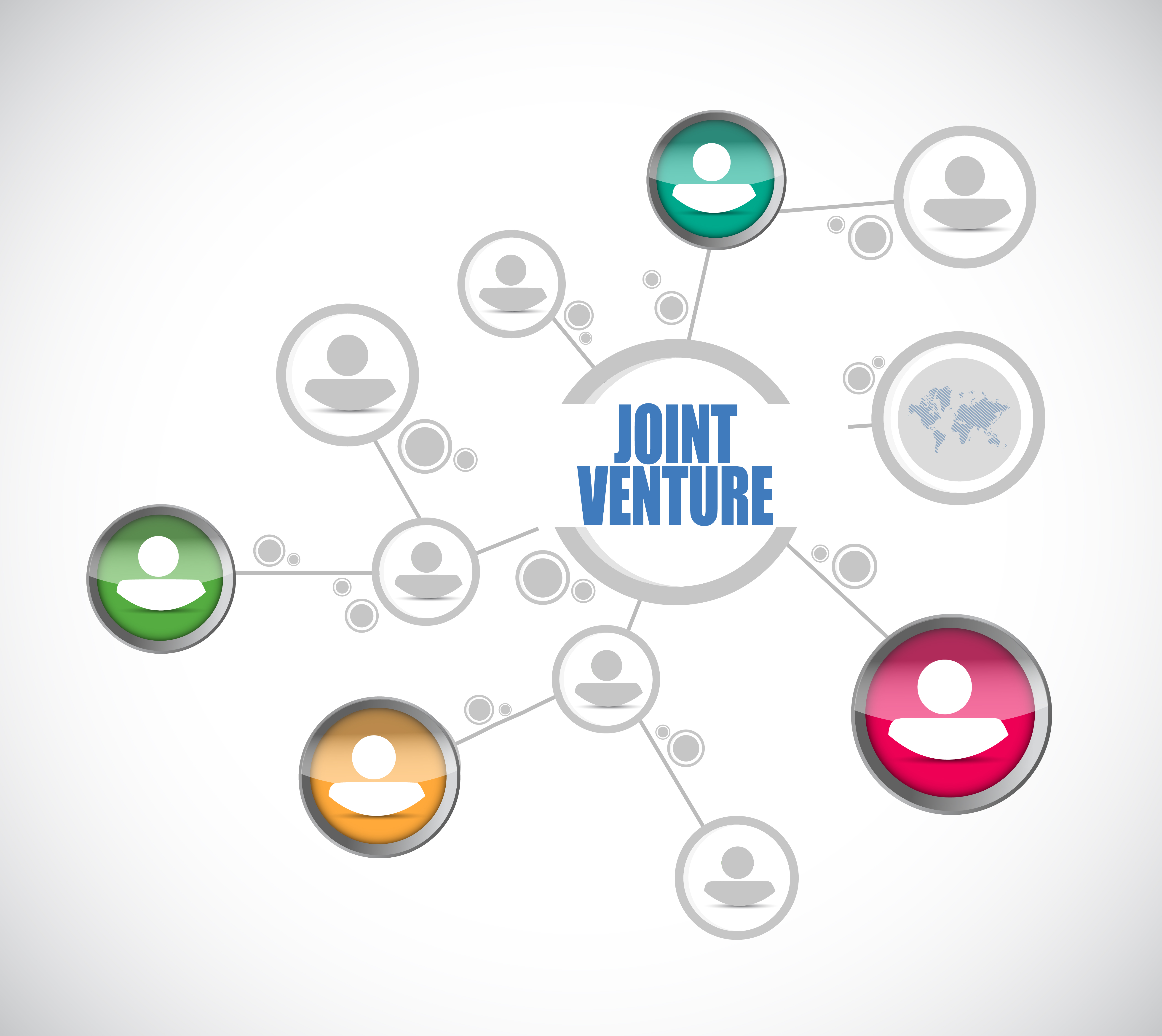 Image with the words joint venture connecting various people in different parts of the worls - represents that Joint ventures are the key to becomming a Property Millionaire