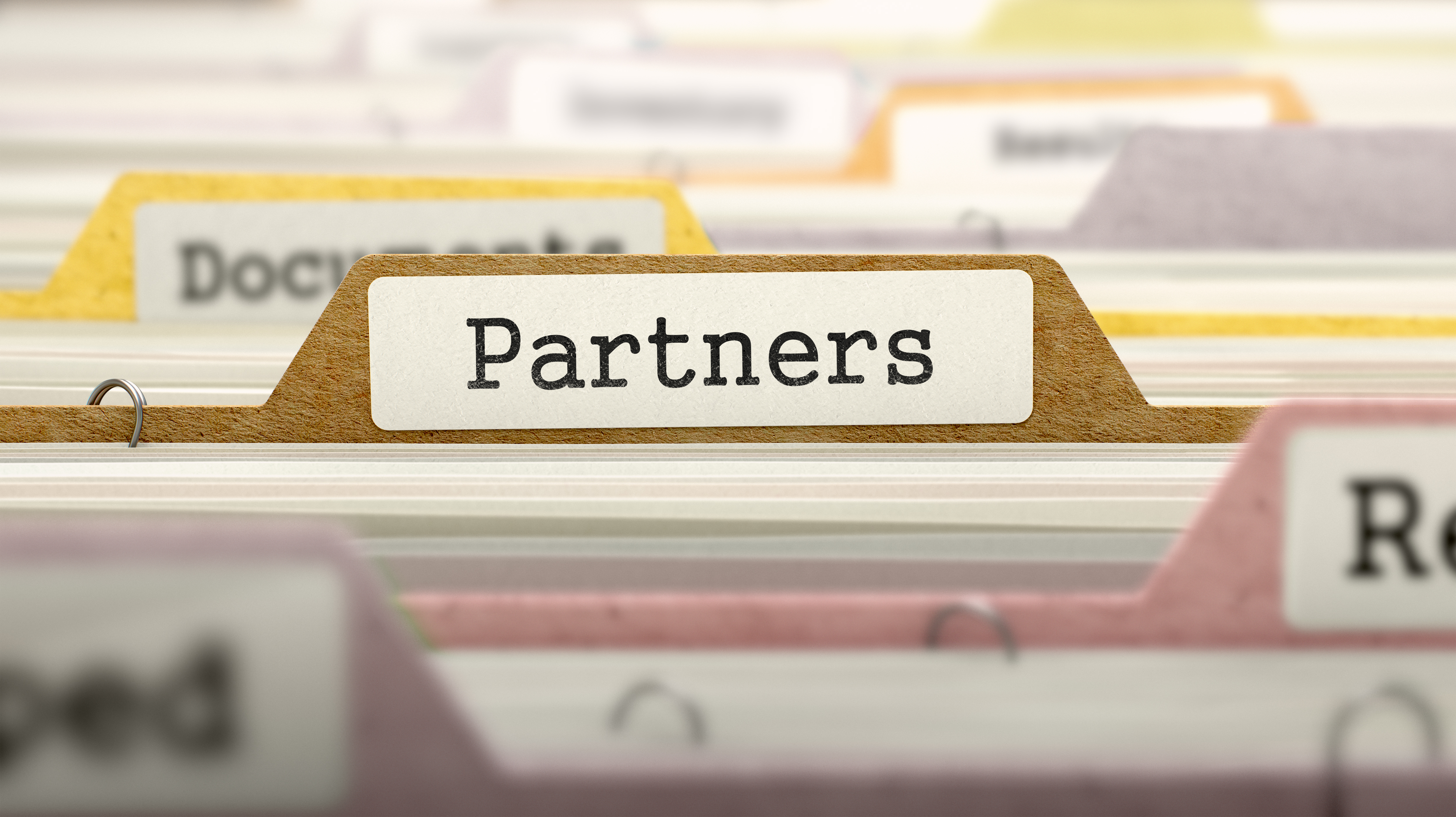 Image of a folder labeled Partners in a folder drawer - represents that Knowing how to pick the best joint venture partners is a key ability to become a Property Millionaire
