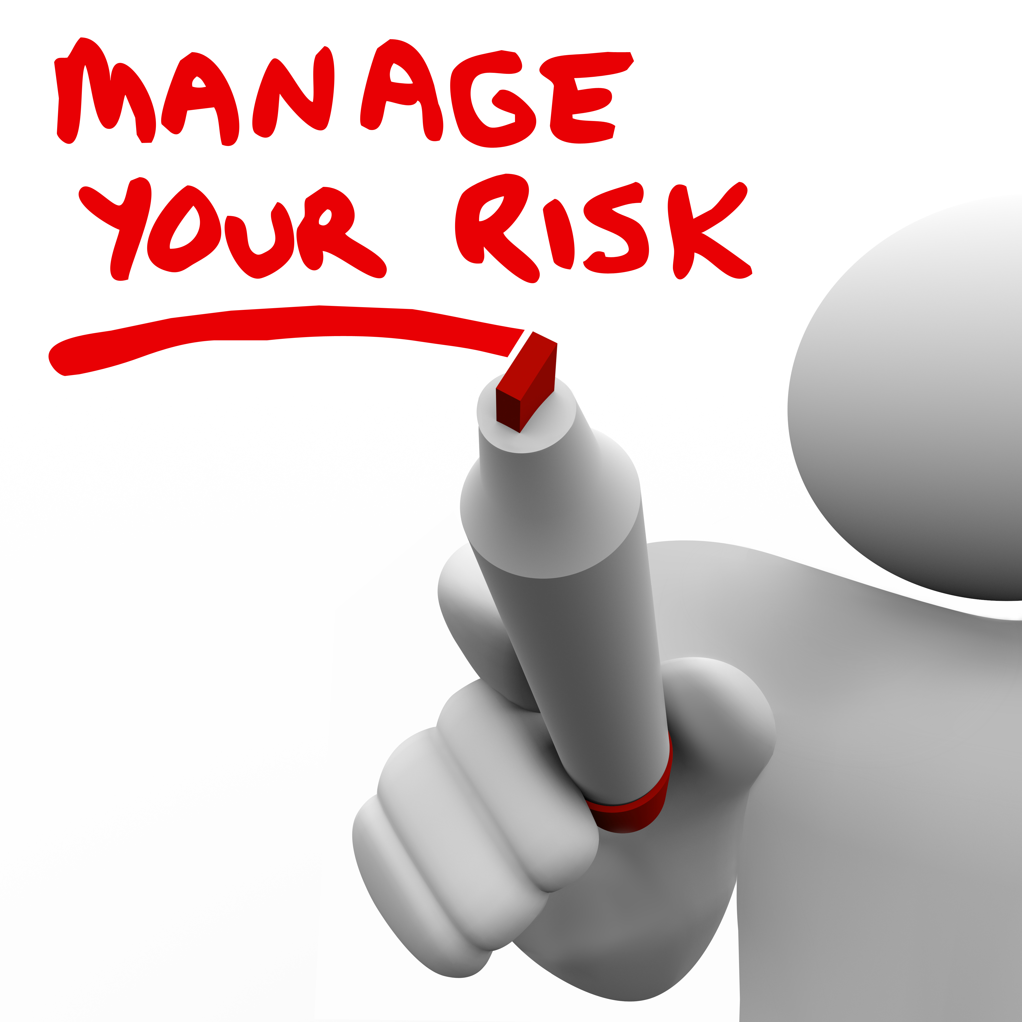 Drawing of someone writing Manage your risk. Represents that Learning how to manage risks is a key Property Investing Secret