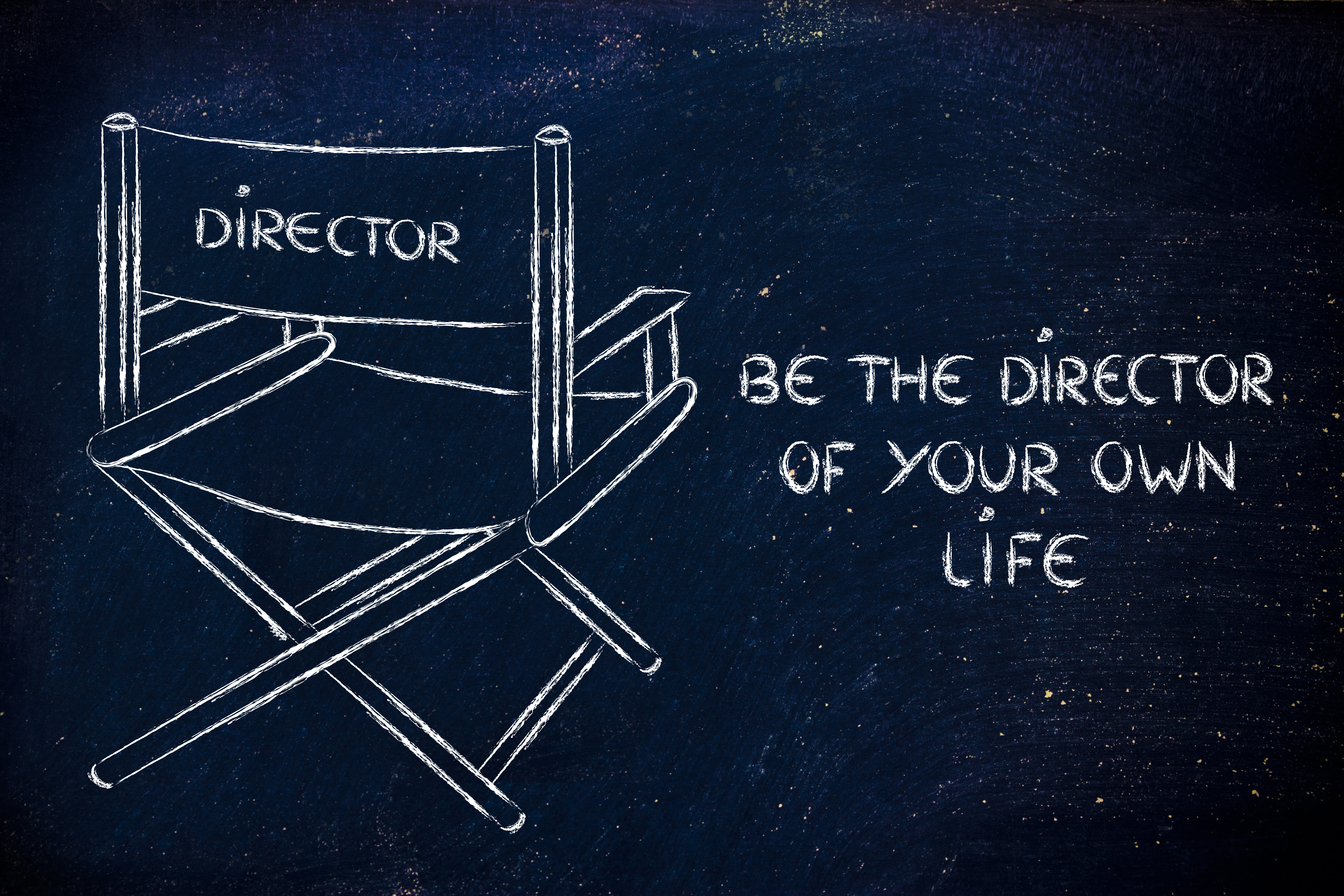 Drawing of a Image of a director's chair on a black board - representing that To Get what you want in life you need to be the director of your own life
