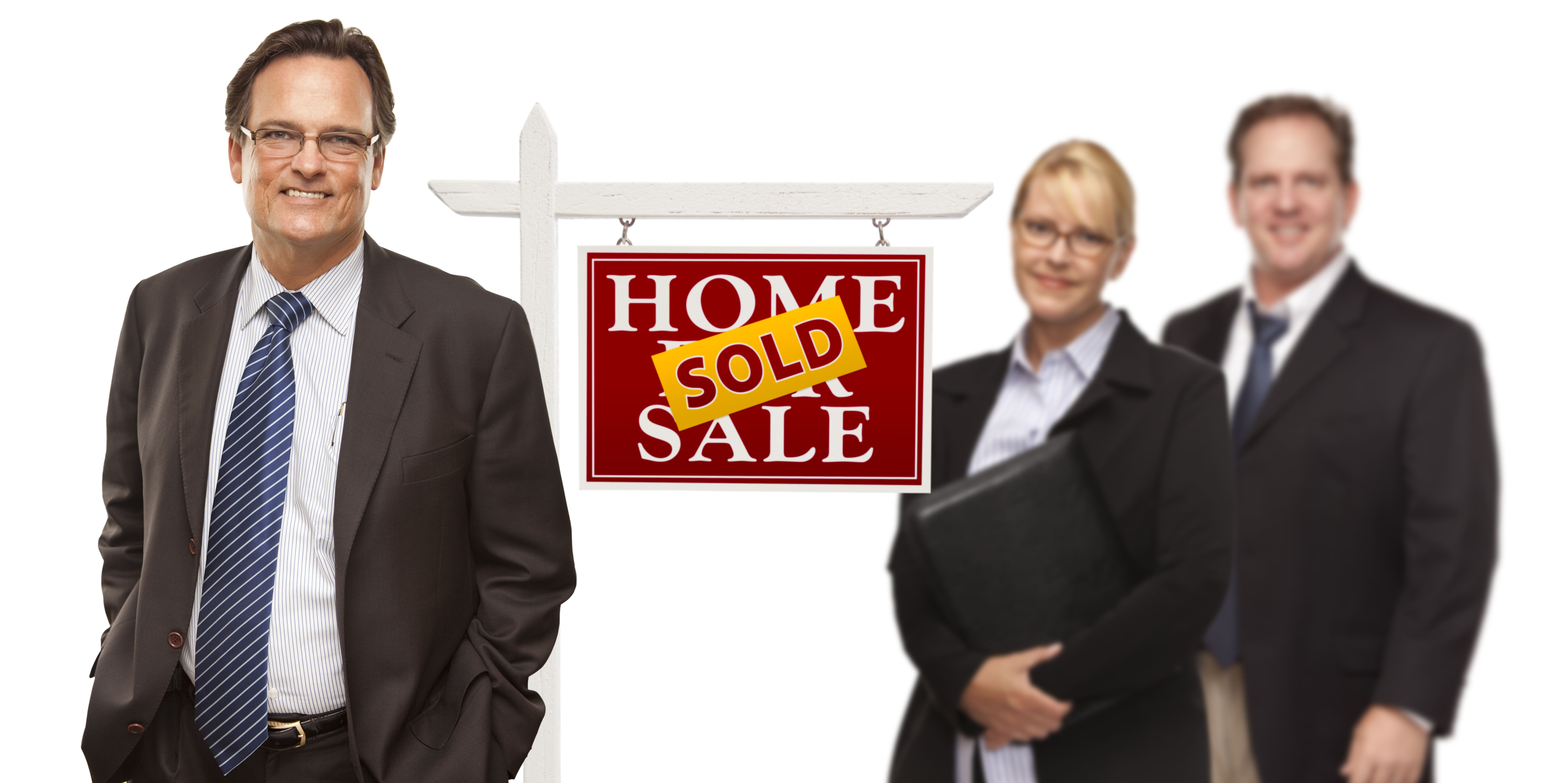 Picture of 3 agents with a Home Sold sign between them. Represents that a valuable Property Investing Secret is to know how to get agents on your team