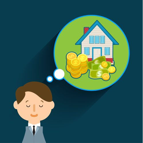 Drawing of a man dreaming about a house and money - represents that the most important thing to determine which of the 5 property investment structures to choose is know what you want